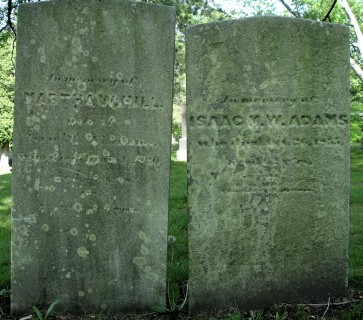 Headstones, Martha Hill and Issac Adams